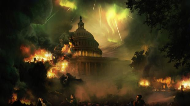 Washington DC destroyed in Devil's Third concept art depicting the White House being destroyed by some magic from the sky.