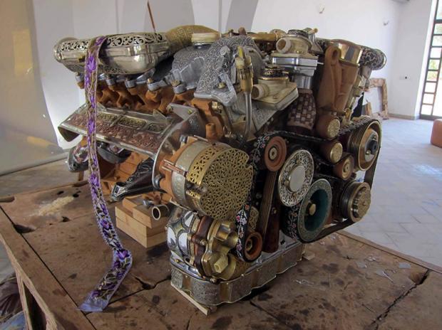 Mercedes v12 engine rebuilt steampunk style for Mercedes benz v 12 engine