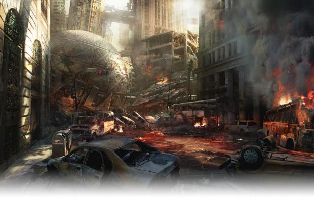Devil's Third concept art depicting the city of Metropolis in wreckage, with the globe atop the Daily Planet fallen on the city street.