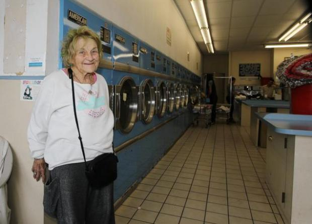 This is Mimi. Mimi used to volunteer in exchange for tips left for her at an LA laundromat that Zach Galifianakis frequented. But eventually those tips weren't enough to live on, and in her mid-80s, Mimi became homeless.