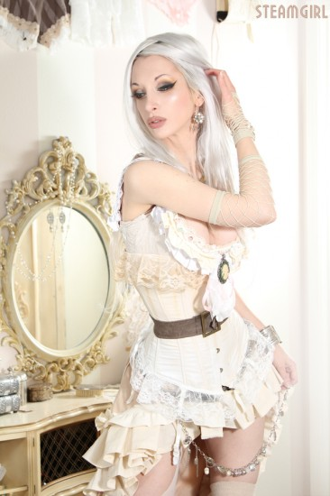 young steampunk woman with long white hair and a short white shirt that leaves little to the imagination